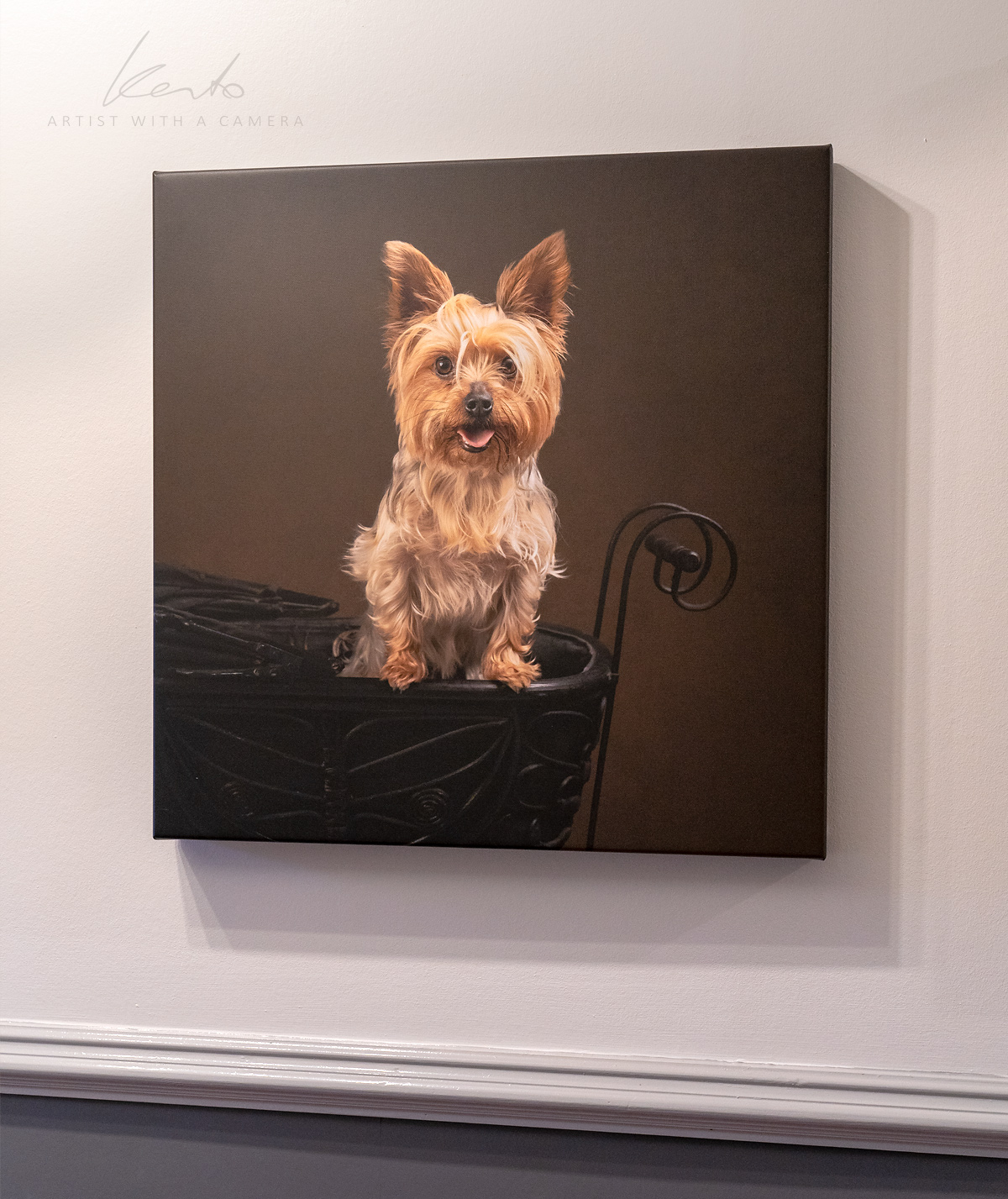 Kerto Studio printed products, pet portrait Yorkie